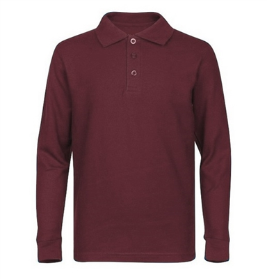Wholesale Adult Size long Sleeve Pique Polo Shirt School Uniform in Burgundy. High School Uniform polo Shirts