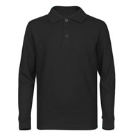 Wholesale Adult Size long Sleeve Pique Polo Shirt School Uniform in Black. High School Uniform polo Shirts