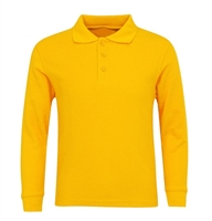 Wholesale Adult Size long Sleeve Pique Polo Shirt School Uniform in Gold. High School Uniform polo Shirts