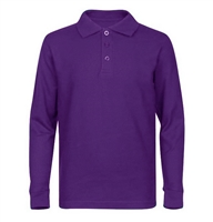 Wholesale Adult Size long Sleeve Pique Polo Shirt School Uniform in Purple. High School Uniform polo Shirts