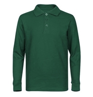 Wholesale Adult Size long Sleeve Pique Polo Shirt School Uniform in Hunter Green. High School Uniform polo Shirts