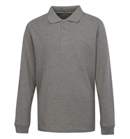 Wholesale Adult Size long Sleeve Pique Polo Shirt School Uniform in Heather Grey. High School Uniform polo Shirts