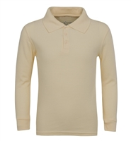 Wholesale Adult Size long Sleeve Pique Polo Shirt School Uniform in Khaki. High School Uniform polo Shirts