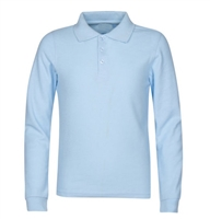 Wholesale Adult Size long Sleeve Pique Polo Shirt School Uniform in Light Blue. High School Uniform polo Shirts