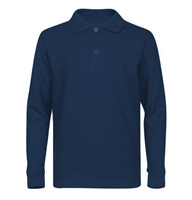 Wholesale Adult Size long Sleeve Pique Polo Shirt School Uniform in Navy Blue. High School Uniform polo Shirts