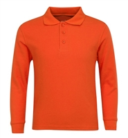 Wholesale Adult Size long Sleeve Pique Polo Shirt School Uniform in Orange. High School Uniform polo Shirts