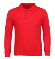 Wholesale Adult Size long Sleeve Pique Polo Shirt School Uniform in Red. High School Uniform polo Shirts