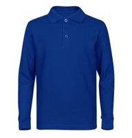 Wholesale Adult Size long Sleeve Pique Polo Shirt School Uniform in Royal Blue. High School Uniform polo Shirts