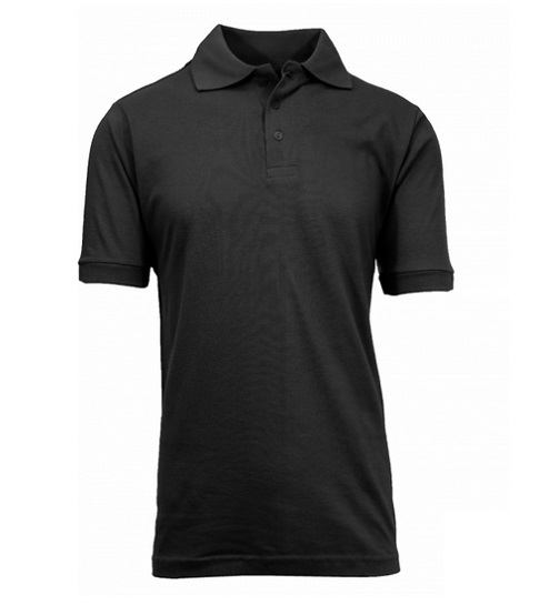 Wholesale Mens Short Sleeve Pique Polo Shirt in Black By Size