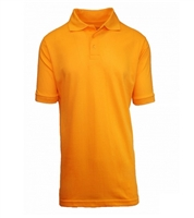 Wholesale Adult Size Short Sleeve Pique Polo Shirt School Uniform in Gold. High School Uniform polo Shirts