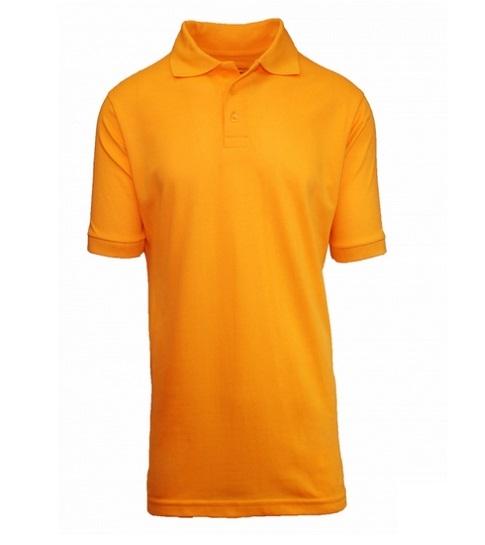 ce79b1d6 Wholesale Adult Size Short Sleeve Pique Polo Shirt School Uniform in Gold. High  School Uniform polo Shirts