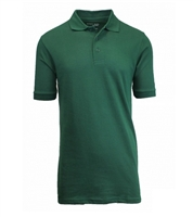 Wholesale Adult Size Short Sleeve Pique Polo Shirt School Uniform in Hunter Green. High School Uniform polo Shirts