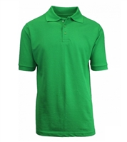 Wholesale Adult Size Short Sleeve Pique Polo Shirt School Uniform in Kelly Green. High School Uniform polo Shirts