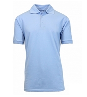 Wholesale Adult Size Short Sleeve Pique Polo Shirt School Uniform in Light Blue. High School Uniform polo Shirts