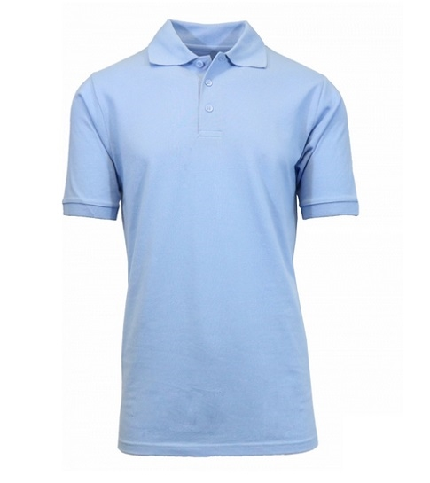 aa82f0e3 Wholesale Adult Size Short Sleeve Pique Polo Shirt School Uniform in Light  Blue. High School Uniform polo Shirts ...