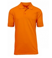 Wholesale Adult Size Short Sleeve Pique Polo Shirt School Uniform in orange. High School Uniform polo Shirts