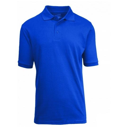 f43ab7fd Wholesale Adult Size Short Sleeve Pique Polo Shirt School Uniform in Royal  Blue. High School Uniform polo Shirts ...