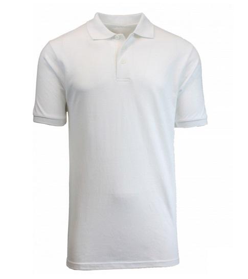 Wholesale Adult Size Short Sleeve Pique Polo Shirt School Uniform in White