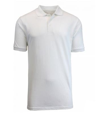 0fc68c09 Wholesale Adult Size Short Sleeve Pique Polo Shirt School Uniform in White. High  School Uniform polo Shirts ...