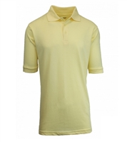 Wholesale Adult Size Short Sleeve Pique Polo Shirt School Uniform in Yellow. High School Uniform polo Shirts