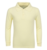 Wholesale Adult Size long Sleeve Pique Polo Shirt School Uniform in Yellow. High School Uniform polo Shirts