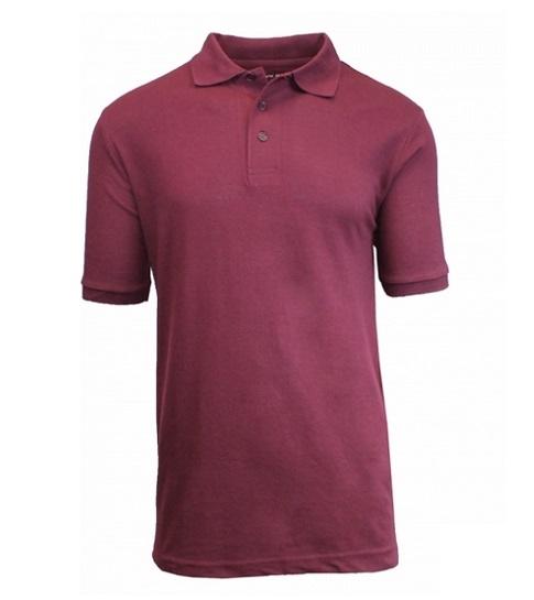 41f9d8e0 Wholesale Big Mens Short Sleeve Pique Polo Shirt School Uniform in Burgundy.  High School Uniform polo Shirts
