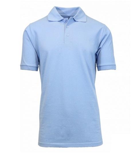 76d495872b129 Wholesale Big Mens Short Sleeve Pique Polo Shirt School Uniform in Light  Blue.