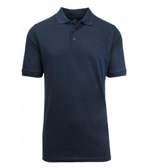 3c4b6975 Wholesale Big Mens Short Sleeve Pique Polo Shirt School Uniform in Navy  Blue. High School Uniform polo Shirts
