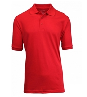 Wholesale Big Mens Short Sleeve Pique Polo Shirt School Uniform in Red. High School Uniform polo Shirts