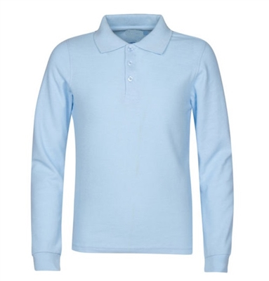 172062d8c Wholesale Boys Long Sleeve School Uniform Polo Shirt in Light Blue ...