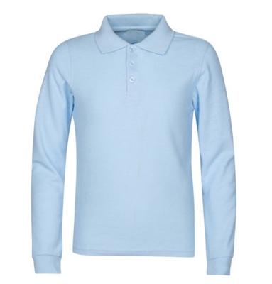 aea7349cb Wholesale Boys Long Sleeve School Uniform Polo Shirt in Light Blue ...