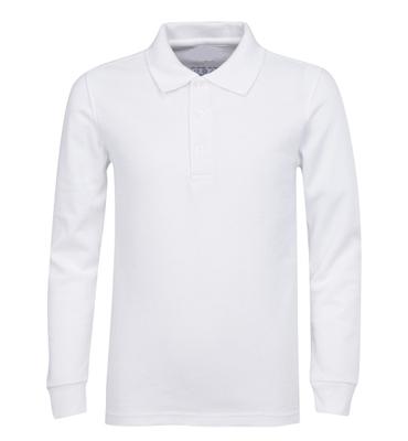 7f943385b Wholesale Boys Long Sleeve School Uniform Polo Shirt in White ...