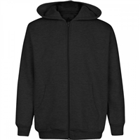 Wholesale Boys Fleece Zip Up Hooded Sweatshirt in Black
