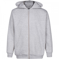 Wholesale Boys Fleece Zip Up Hooded Sweatshirt in Heather Grey
