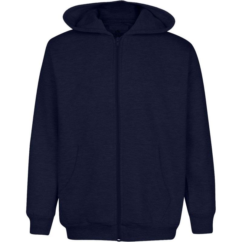 Wholesale Boys Fleece Zip Up Hooded Sweatshirt in Navy