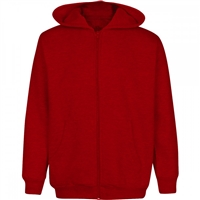 Wholesale Boys Fleece Zip Up Hooded Sweatshirt in Red