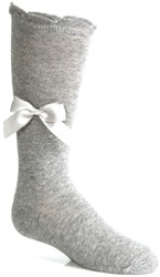 Wholesale Girls Knee High Socks with Satin Bow in Gray