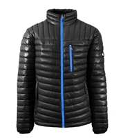 Wholesale Men's Quilted Bubble Jacket by Spire in Black with Blue Zipper