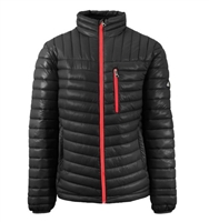 Wholesale Men's Quilted Bubble Jacket by Spire in Black with Red Zipper