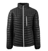 Wholesale Men's Quilted Bubble Jacket by Spire in Black with Silver Zipper