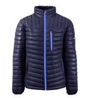 Wholesale Men's Quilted Bubble Jacket by Spire in Navy with Blue Zipper