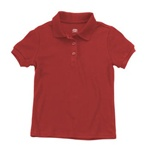 school uniform companies Junior Short Sleeve Jersey Knit Polo Shirt in Red