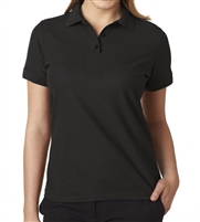 school uniform companies Junior Short Sleeve 5 Button Pique Polo Shirt  in Black
