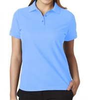 Wholesale Junior Short Sleeve 5 Button Pique Polo Shirt  in Light Blue