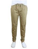 Wholesale Men's Drawstring Stretch Jogger Pants Khaki