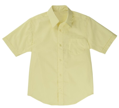 Boys Short Sleeve Dress Shirt School Uniform In Yellow