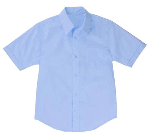 Wholesale Boys Short Sleeve Dress Shirt School Uniform in Blue