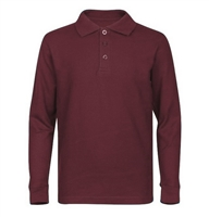 Wholesale Boys Long Sleeve School Uniform Polo Shirt Burgundy