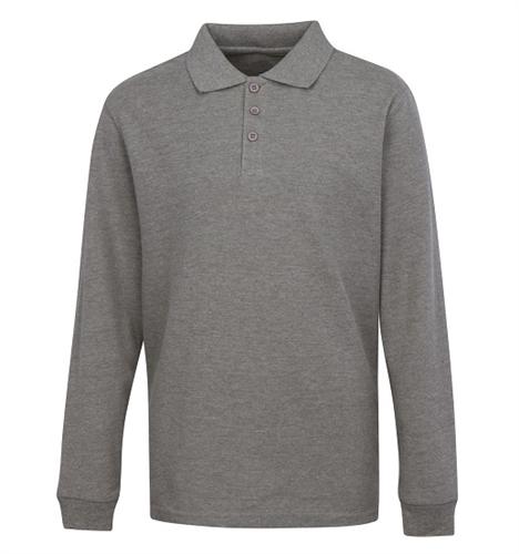 c7bdc00a3 Wholesale Boys Long Sleeve School Uniform Polo Shirt in Heather Grey ...