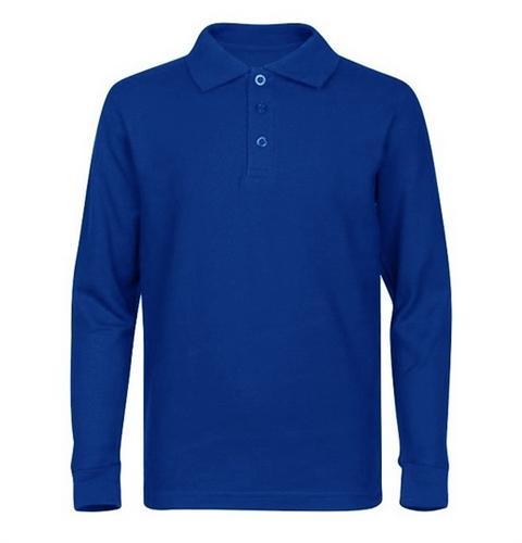 4072bfdf6 Wholesale Boys Long Sleeve School Uniform Polo Shirt in Royal Blue ...